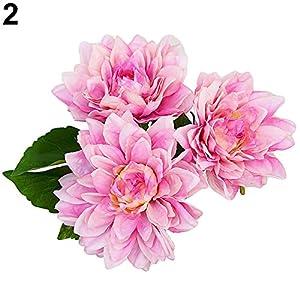 YHCWJZP 1 Bouquet 3 Pcs Caroline Dahlia Artificial Flowers Home Room Wedding Decor - Light Purple 47