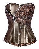 Charmian Women's Victorian Brocade Stripe Boned Gothic Retro Punk Overbust Corset with Zipper Brown Small