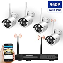 [AUTO-PAIR]Wireless Security Camera System,SMONET 4CH 1080P HD Video Security System,4pcs 960P Wireless Weatherproof IP Cameras,Plug and Play,Super Night Vision,Easy Remote View,No Hard Drive