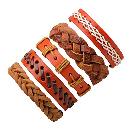 Olive Tayl 1set/6pcs Vintage Leather Bracelets For Women Punk Bible Leather Bracelet & Bangle Male Wristband Wrap Men Jewelry 5 pieces B