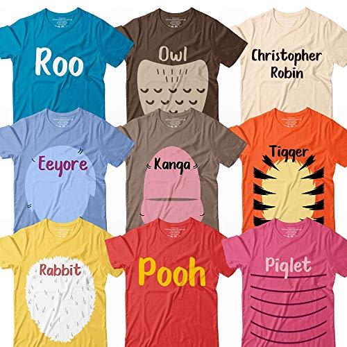 Winnie Bear And Friends Roo-Owl-Robin-Eeyore-Kanga-Tiger-Rabbit-Bear-Piglet Halloween Costume Matching Group Team Squad Family Customized Handmade Hoodie/Sweater/Long Sleeve/Tank Top/Premium T-shirt (White Gold Owl)