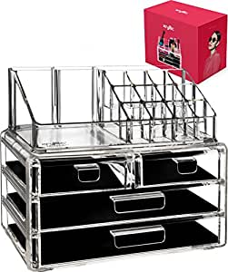 Kryllic Acrylic jewelry cosmetic Vanity organizer - Great Box for Organizing your Lipstick Nail Polish Makeup Brushes Set Holder keep Dresser Bathroom Organized with 4 set of Drawers By