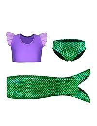 Kaylre Girl's 3Pc Mermaid Swimwear Ruffles Bathing Suit Bikini Top Purple