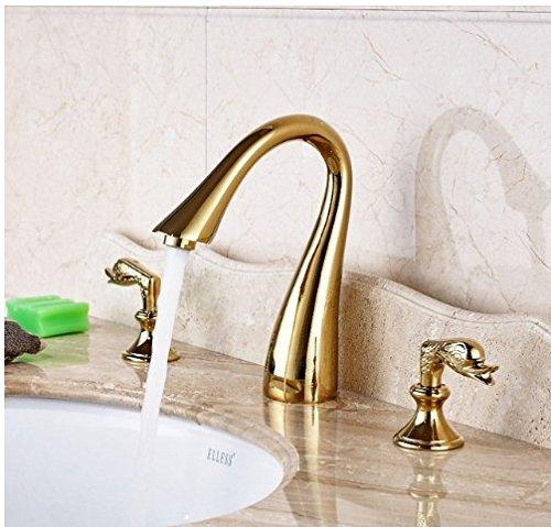 Gowe デッキマウント ゴールデンポリッシュ 浴槽蛇口 浴室 シンタップ ダブルハンドル ミキサータップ   B07DB7Y2LW