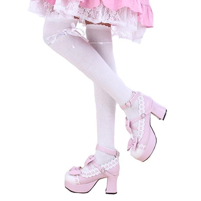 bf91c08799661 SHEMILY Women's Thigh High Socks Over Knee Lolita Lace Up Gothic Thigh  Stocking WZ2 (White