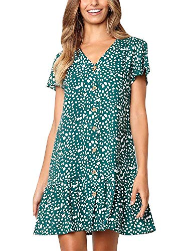 Chuanqi Womens Polka Dot V Neck Button Down Ruffles Casual Loose Swing Short Mini T-Shirt Dress (Medium, Green 1) (V-neck Women T-shirt)