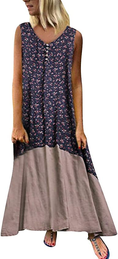 Dresses for Women Vintage Print Pachwort Maxi Dress Casual Plus Size Party Long A-Line Sundress