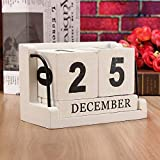 Labu Store Vintage Mediterranean Style Wood Perpetual Calendar DIY Calendar Art Crafts Home Office School Desk Decoration Gifts