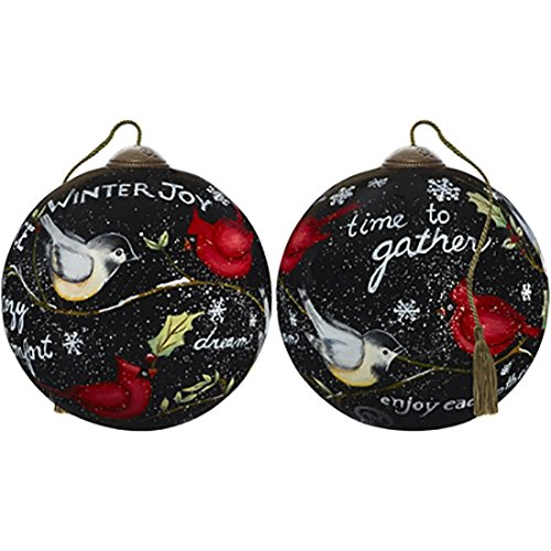 - Ne'Qwa Art Hand Painted Blown Glass Winter's Cardinals Ornament,