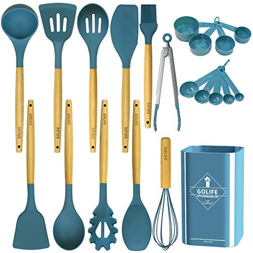 GOLIFE Silicone Cooking Utensil Set, Kitchen Utensils 20 PCS Cooking Utensil Set, Non-stick Heat Resistant Cookware…