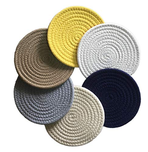 6 Pcs Large Coaster For Drink Absorbent Dining Kitchen 7 Inch Woven Pot Coasters set Colorful Round