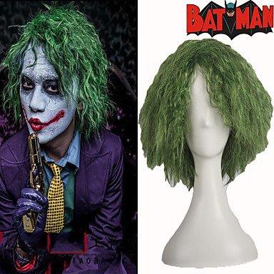 Sin tapa verde Joker corto Fluffy pelo rizado pelucas de disfraces para Halloween Cosplay Party de