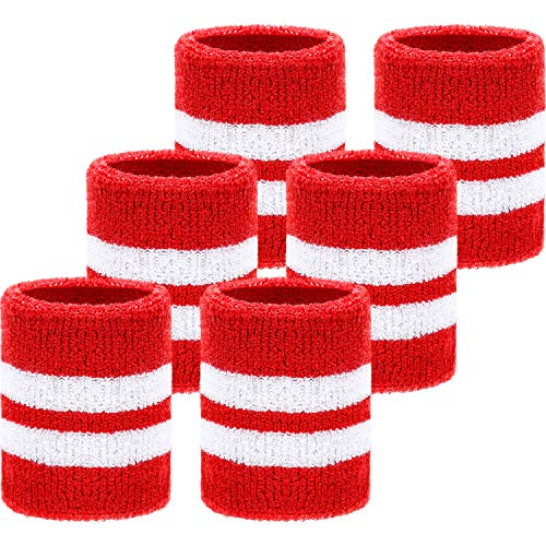 (WILLBOND 6 Pack Wrist Sweatbands Sports Wristbands for Football Basketball, Running Athletic Sports (Red with White Stripe))