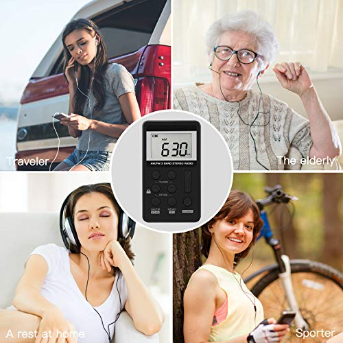 Upgrade Portable Radio, Digital Tuning AM/FM Portable Stereo Personal Radio with Earphone for Walk/Jogging/Gym/Camping by ANTOGOO (Image #3)