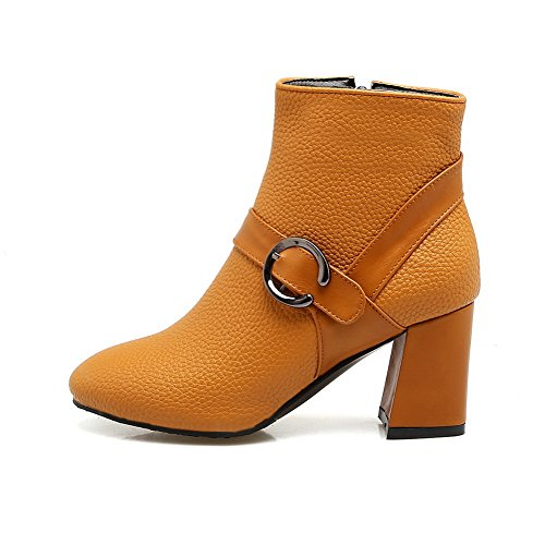 Lining amp;N Zipper Kitten Yellow Warm Closed A AN Boots Cushioning Waterproof Leather DKU01968 Urethane Heel Womens Toe Road Smooth Manmade Boots AvgCqCw