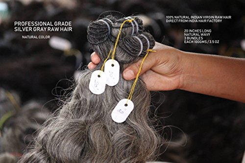 IDM India Professional Grade Natural Silver Gray unprocessed Indian virgin temple raw hair (20