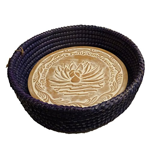 Handwoven Bread Roll Basket w Lotus Terracotta Warming Tile 11 Inch Width (Colbalt Blue) (Artisan Bread Stone compare prices)