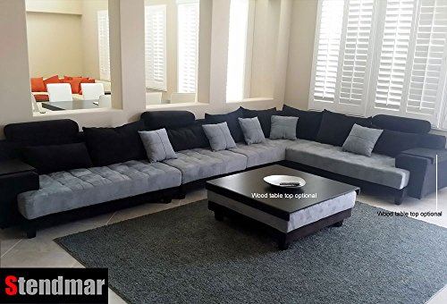Amazon.com: 5pc Multifunction 2 Tone Microfiber Big Sectional Sofa Set  S150RBG: Kitchen U0026 Dining