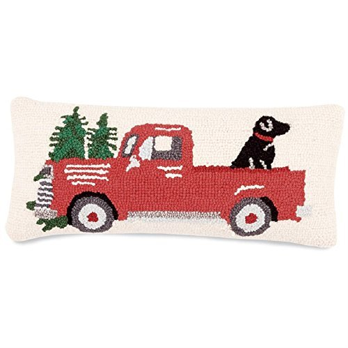 Mud Pie RED TRUCK & DOG HOOKED PILLOW]()
