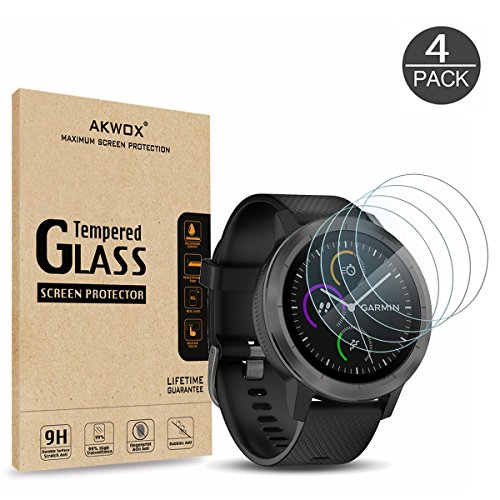AKWOX (4-Pack) Garmin Vivoactive 3 Screen Protector, [0.3mm 2.5D High Definition 9H] Tempered Glass Screen Protector for Garmin Vivoactive 3 / Fenix Chronos