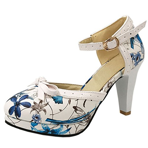 KemeKiss Elegant Women Elegant KemeKiss Floral High Heel Party Shoes Bowknot Wedding Sandals with Ankle Strap Parent B0739YD35B 18f566