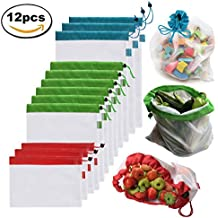 Brotrade Reusable Mesh Produce Bags Washable Eco Friendly Bags for Grocery Shopping & Storage, Fruit, Vegetable, and Toys Set of 12 - Three Large 12x17in, Six Medium 12x14in, and Three Small 12x8in