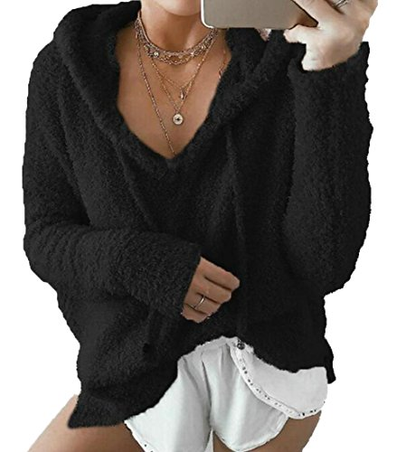 Cruiize s Black Women Hoodie Casual Sweatshirt Loose Plush Drawstring Warm zzw5x1qrF
