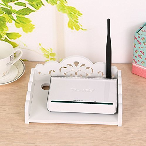 WiFi Router Wall Mount Wall Shelf for Router and Modem Storage Router Box Shelf with Brackets (Small)