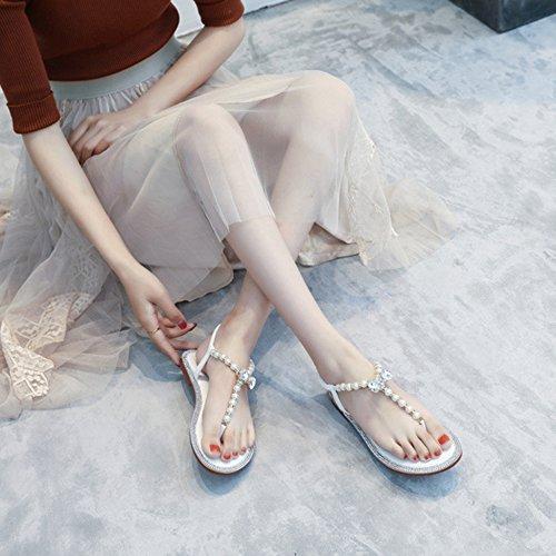 Strass T Strap Femmes Bohême YRE Élastique Plage Flops Appartements White Chaussures Dames Chaussures Pour Femmes Sandales Baignade Rtqq1F