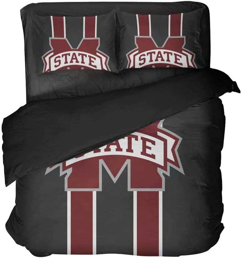 lordream Starkville City Sports Bed Flat Sheet Sets University Football Quilt Cover Set 2 Pillowcases Full 3 Pieces(Twin 3pcs)