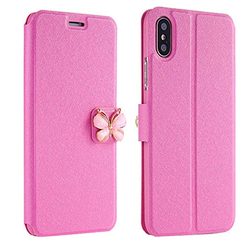 Price comparison product image Women Girls Flip Case Cover Leather Wallet Magnetic Case Cover Skin for iPhone Xs 5.8inch / Max 6.5inch / XR 6.1inch (iPhone XR 6.1inch,  Hot Pink)