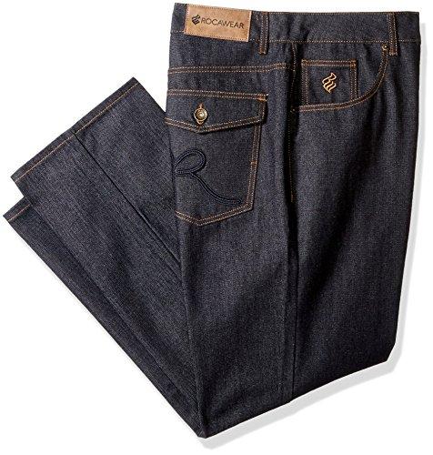 Rocawear Men's R Script Flap Jean, Raw Blue/Navy, 46