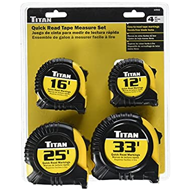 Titan TIT10902 Cushioned Quick Read Tape Measure Set, 4 Piece (Contains 12', 16', 25' And 33' Tapes)