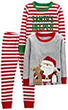 Simple Joys by Carter's Boys' Toddler 3-Piece Snug-Fit Cotton Christmas Pajama Set, Red/White Stripe/Santa, 3T
