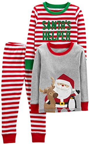 Simple Joys by Carter's Boys' 3-Piece Snug-Fit Cotton Christmas Pajama Set, Red/White Stripe/Santa, 12 Months