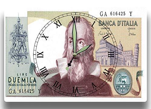 Galileo Galilei Customized Money Clock Banca d'Italia Series 1973 2000 Itialian Lire 8 x 12 inch clock Astronomy Modern Physics Scientific Method