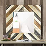 tri fold wall mirror with lights Svitlife American Art Decor Rustic Wood Plank Farmhouse Wall Vanity Mirror - Multi Mirror Vanity Makeup Led Lighted Touch Light Tabletop