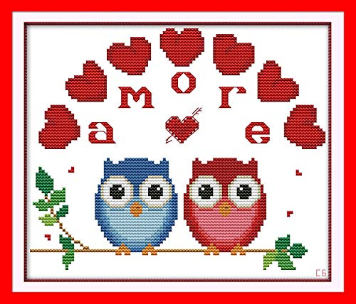 Printed Cross (Cross Stitch Stamped Kits Quilt Pre-Printed Cross-Stitching Patterns for Beginner Kids Adults, Embroidery Crafts Needlepoint Starter Kits The Owl)