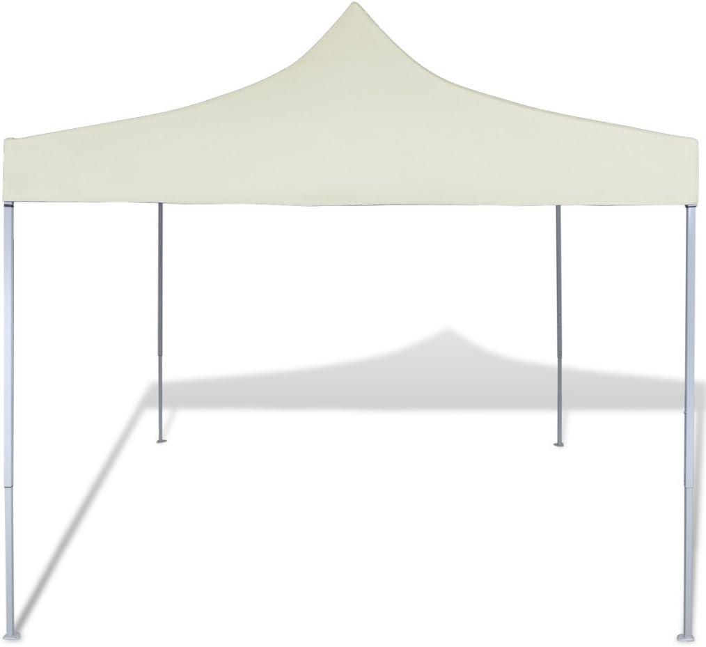 festnight Pérgola para externo cortina plegable crema 3 x 3 m ...