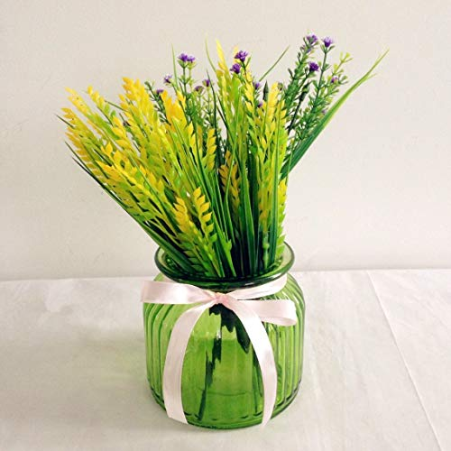 WANDERBAL HOME Glass Ribbed Bud Vase,Cylinder Bottle,Clear for Home Decor (Green, 3.9