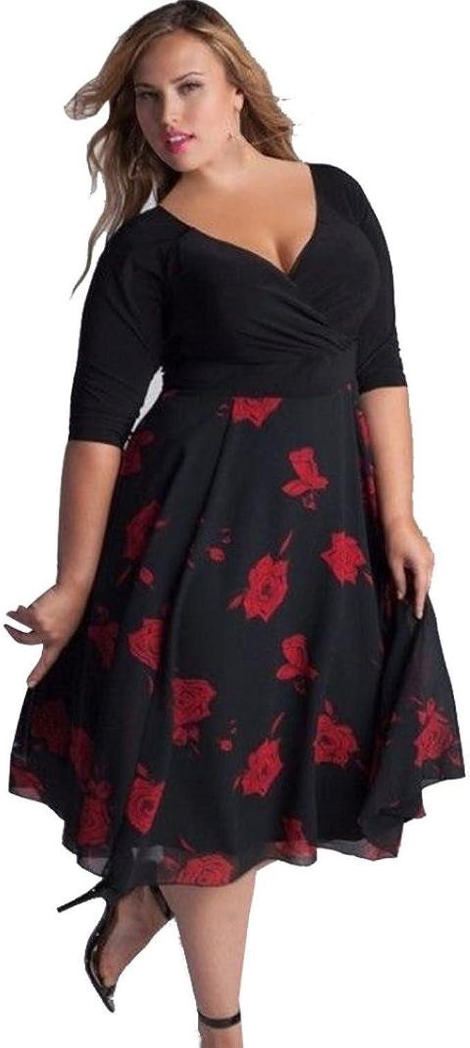 übergröße Kleider Vintage Damen Kolylong® Frauen Sommer V-Ausschnitt Blumig  Bedruckt Kleid Party Kleid Sommer Lose Strandkleid Abendkleid