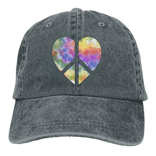 - Glitter Rainbow Heart Peace Sign Dad Denim Hats Vintage Baseball Caps Men's
