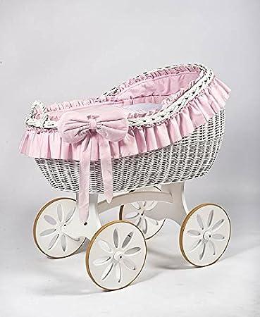Cesta de mimbre, moisés «Bianca DUE Pink Spoke» blanco & rosa, la cuna, cuna de MJmark