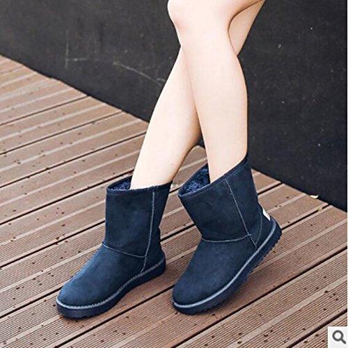 Plano negra Confort Invierno PU redondeado Azul botines for Toe HSXZ Mujer de casual Otoño Botas marrón Blue Botines Rojo Zapatos caqui xfBWwnqHS0