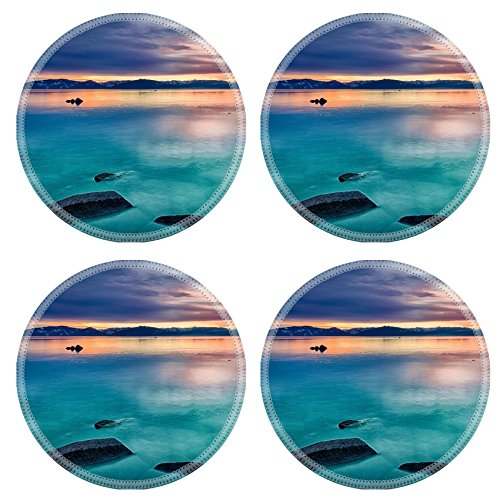 Sierra Accent End Table (Liili Natural Rubber Round Coasters IMAGE ID: 22229025 Reflection of clouds in a lake Lake Tahoe Sierra Nevada California)