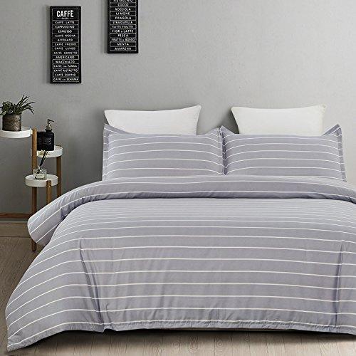 Vaulia Microfiber Reversible Duvet Cover Set, Twin, Grey & White Stripe Deal (Large Image)