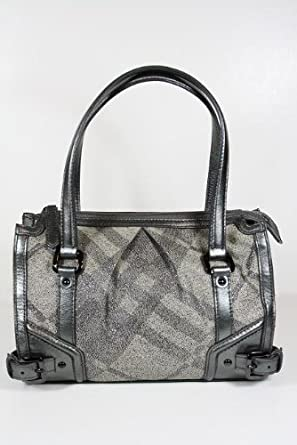 275c55ba408a Image Unavailable. Image not available for. Color  Burberry Handbags Trench  Check (Metallic Gray) Canvas and Leather 3712562