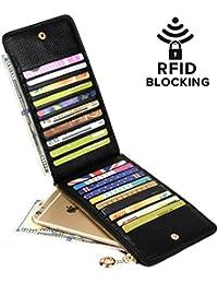 Women's RFID Blocking Genuine Leather Multi Card Organizer Wallet with Zipper Pocket