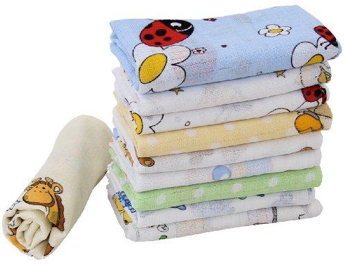 10 Stoffwindeln bunt für Jungs Mullwindeln Spucktücher Baumwolle 70x80cm