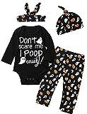 #4: 4Pcs Halloween Pumpkin Outfit Set Baby Boys Girls Funny Romper